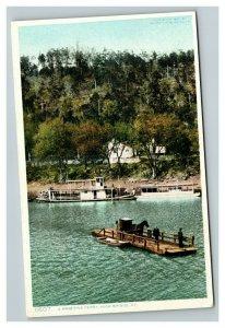 Vintage 1920's Postcard Horse & Buggy on Primitive Ferry High Bridge Kentucky