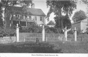 South Berwick Maine~Hayes Residence~White Iron Fence~c1910 Colored Postcard