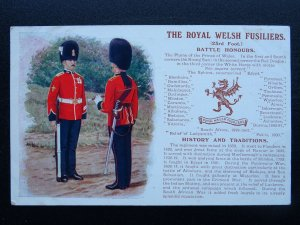 THE ROYAL WELSH FUSILIERS History & Traditions c1915 Postcard by Gale & Polden