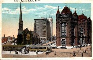 New York Buffalo Trolleys At Shelton Square 1919