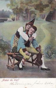 Romantic Couple Alskar du mig Man With Violin 1905