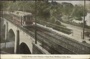 Middlesex Fells MA Trolley on Cement Bridge c1910 Postcard