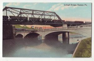 P242 JL old postcard railroad lehigh bridge easton penn.