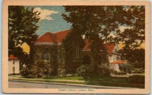 Lisbon, Ohio Postcard Lepper Library Building View Dexter Linen 1943 Cancel