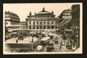 France Paris LÓpera et la Place 1930's Real Photo Postcard