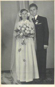 groom & bride photo dated 1958 Romania studio Cluj