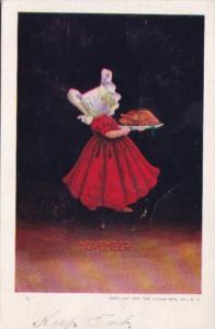 Sunbonnet Girl With Turkey On Platter November