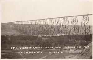 RP: LETHBRIDGE , Alberta , Canada , 00-10s; Train on C.P.R. Viaduct Bridge