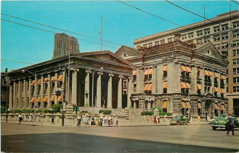 Dayton Ohio~Pin-Striped Awnings~The Old Courthouse~Downtown~1950s~Postcard