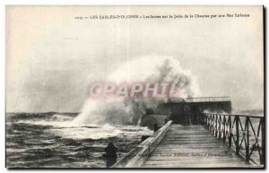 Old Postcard Olonne Sands blades on jetce thatch by a furious sea