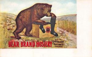 Chicago IL Paramont Knitting Co. Bear Brand Hosiery Advertising Postcard