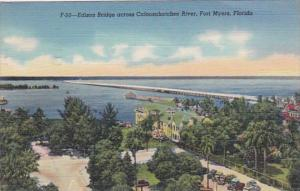 Florida Fort Myers Thomas A Edison Bridge Across Caloosahatchee River 1945 Cu...
