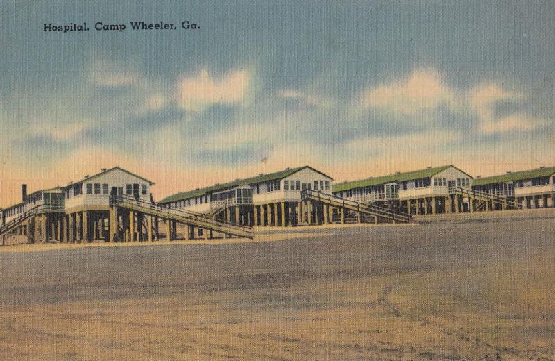 Camp Wheeler Georgia Hospital Street View Antique Postcard