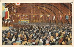 F36/ Mansfield Ohio Postcard 1934 Coliseum Interior Crowd
