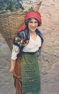 Ticinese Peasant Girl Carrying Basket on her Back, Ticino, Switzerland, 00-10s