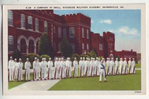 P830 1930-45 linen card riverside military academy a company at drill