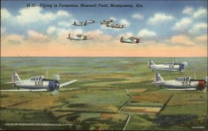 Montgomery AL Fighter Planes Airplanes WWII Maxwell Field Linen Postcard