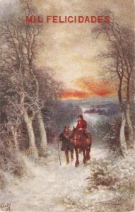 Frank Corbin Price. Back home on horse Tuck OiletteWinter'sMantle Ser. PC #