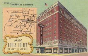 JOLIET , Illinois, 1930-40s; Hotel Louis Joliet and a map