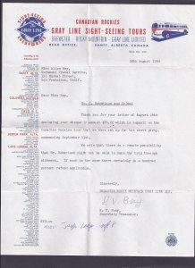 1959 BREWSTER ROCKY MT GRAY LINE BANFF ALBERTA CA LETTER W/USED TICKET STUB
