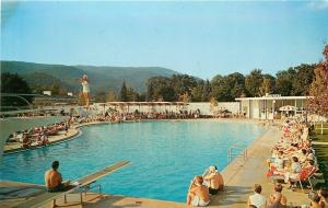 White Sulphur Springs WV~Lady on Diving Board~Greenbrier~1960s Postcard