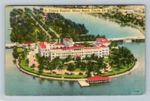 Miami Beach, FL-Florida, St. Francis Hospital, Aerial View, Linen c1950 Postcard