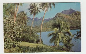 P2227 photo postcard french polynesia scenic view paradise with stamps