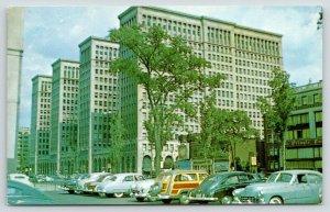 Detroit MI~West Grand~General Motors Building~Parking Lot~Woody Wagon~Cars~1950