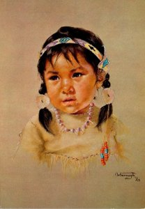 Painting Prairie Sparrow Canadian Indian Child By Dorothy Oxborough