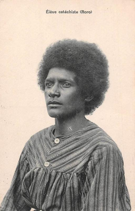Papua New Guinea Eleve catechiste Roro, Papouasie Nouvelle Guinee Afro Hairstyle