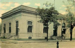 Anderson Indiana~Post Office~Multi Globe Lamp Posts~Fire Hydrant~1910 Postcard