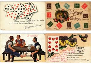 PLAYING CARDS, JEUX CARTES GAMES 38 CPA Vintage postcards pre-1940