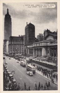 NEW YORK CITY, New York; Fifth Avenue Looking South from 42nd Street, Empire ...