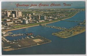 Greetings From Corpus Christi Texas Aerial View Skyline and Shoreline Postcard