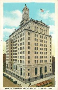 Davenport Iowa~American Commercial & Savings Bank~Trolley~1920s Postcard