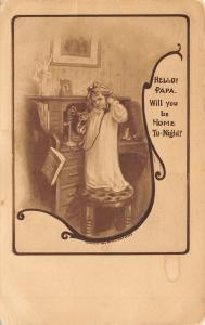 Little Girl in Nightgown~Kitten Under Arm~Talks to Papa on Candlestick Telephone