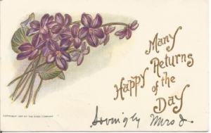 Bouquet of Purple Violets Many Happy Returns Of The Day 1907 Vintage Undivided