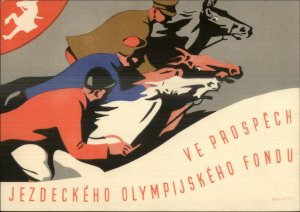 Czech Horse Riding Beautiful Art Deco Equestrian Olympic Fund Postcard