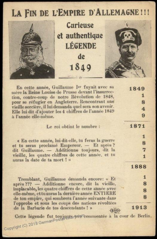 France WWI-era Political Anti-German Patriotic Postcard 75452