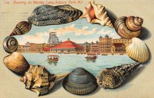 LP38  Asbury Park New Jersey Postcard   Wesley Lake Sea Shell Border