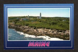 ME Two Lights Park Light Lighthouse Cape Elizabeth Maine Postcard PC