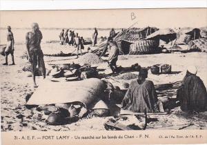 Africa Chad Fort Lamy Un marche sur les bords du Chari