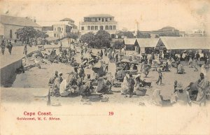 Ghana Gold Coast Cape Coast Market ethnic postcard