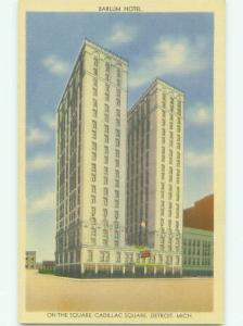 Unused Linen BARLUM HOTEL Detroit Michigan MI hr8176@