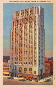 Central Tower, Public Square, Youngstown, Ohio, Early Linen Postcard, Unused