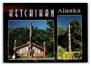 Postcard Totem Bright Park, Alaska AK Ceremonial Long House ACE1420