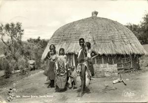 south africa, Native Family in front of their Hut (1956) Artco RPPC