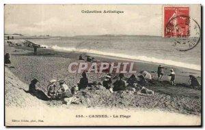 Old Postcard Cannes Beach Children