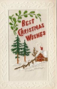 EMBROIDERED, 1900-10s; Best Christmas Wishes, Winter home scene