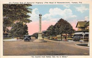 Tampa End of Memorial Highway Florida 1920s postcard